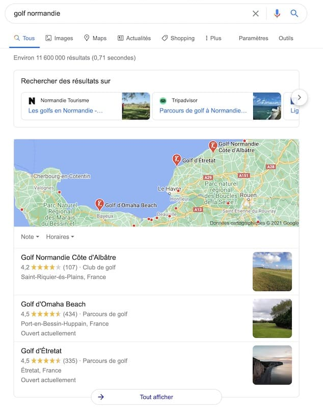 Parlons Golf - Compte Google My Business